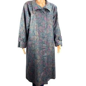 London Fog Green Floral Trench Coat 10P